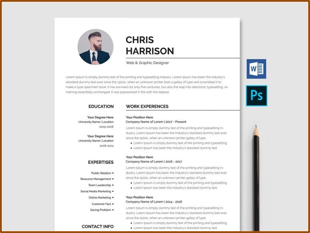 Cv Template Word Free Download With Photo