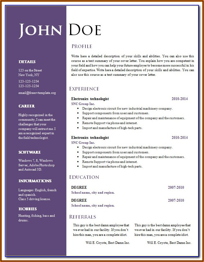 Cv Templates Free Download Word Document Editable
