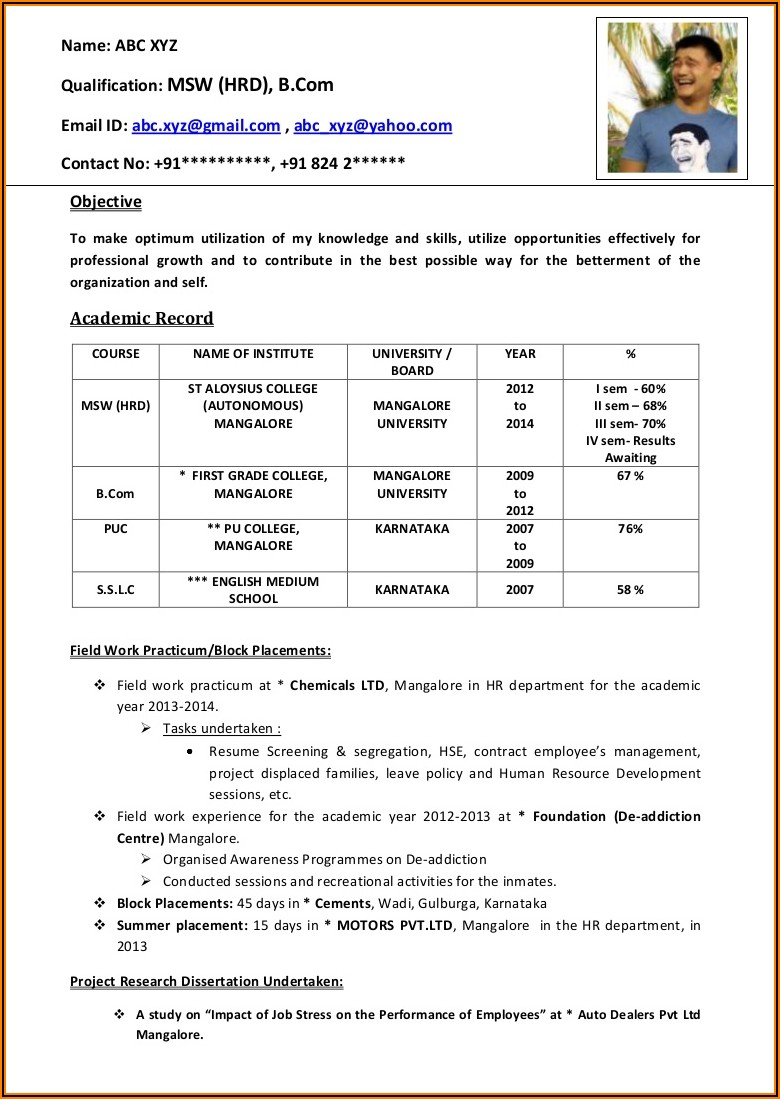 Cv Templates Free Download Word Document For Freshers