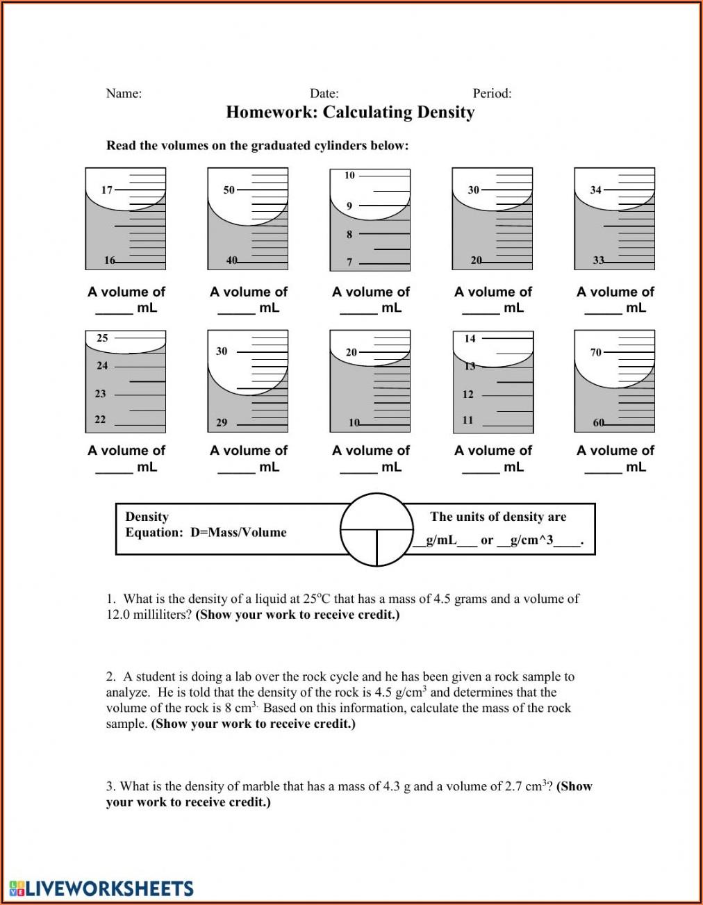 Density Worksheet And Answer Key