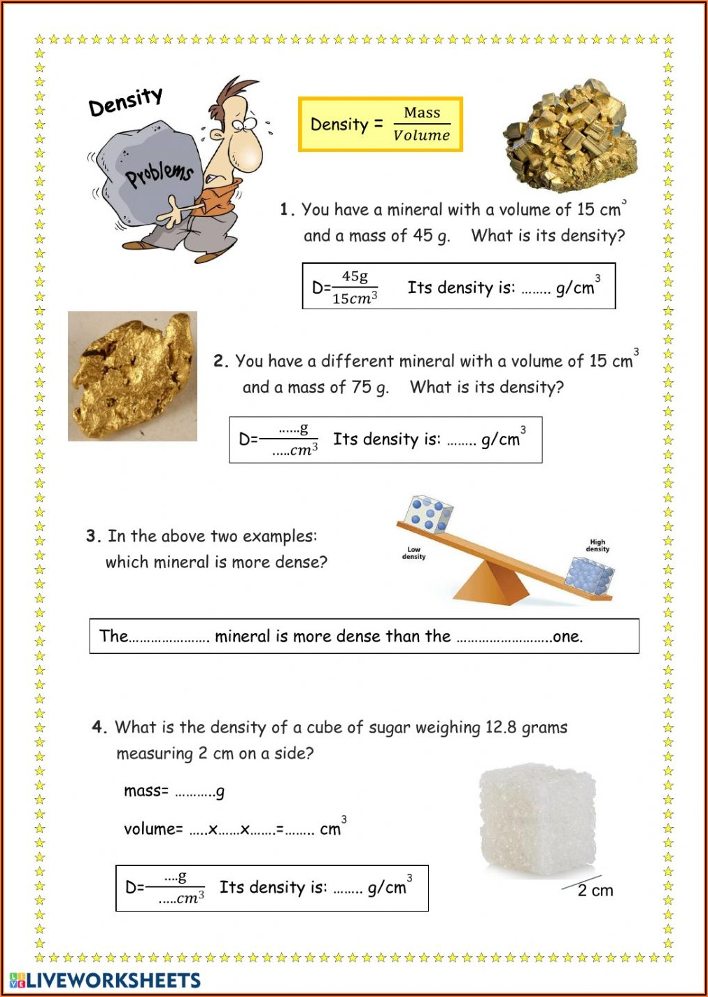 Density Worksheet Answer Key Pdf Chemistry