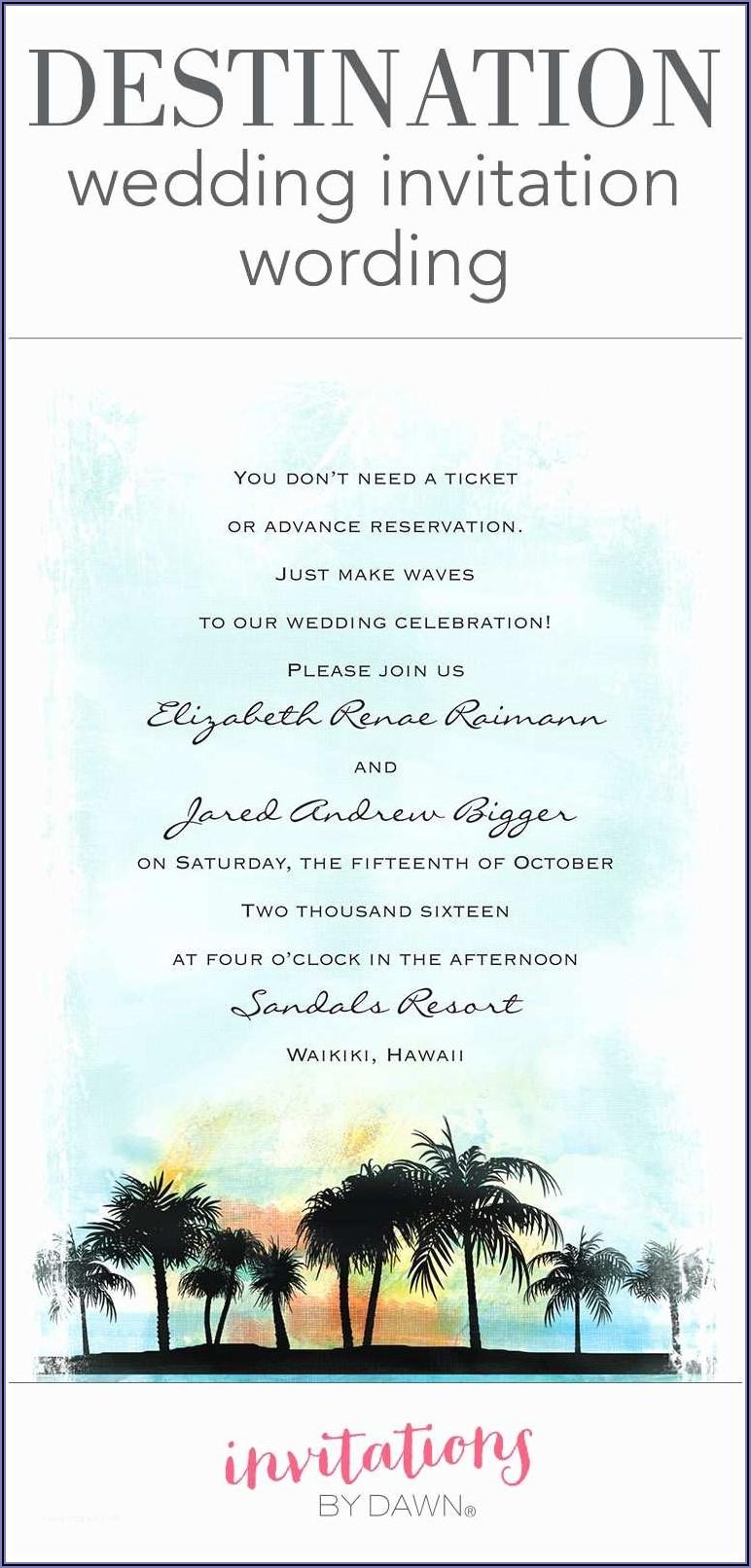 Destination Wedding Announcement Wording