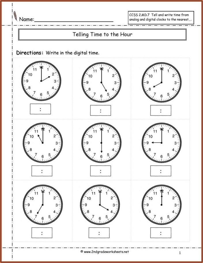 Digital Time Worksheets For Grade 3