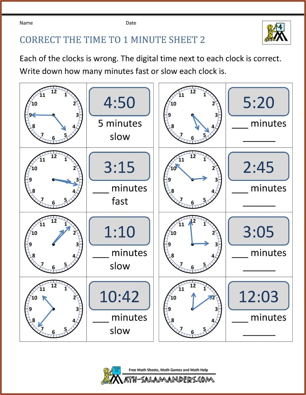 Digital Time Worksheets For Grade 4