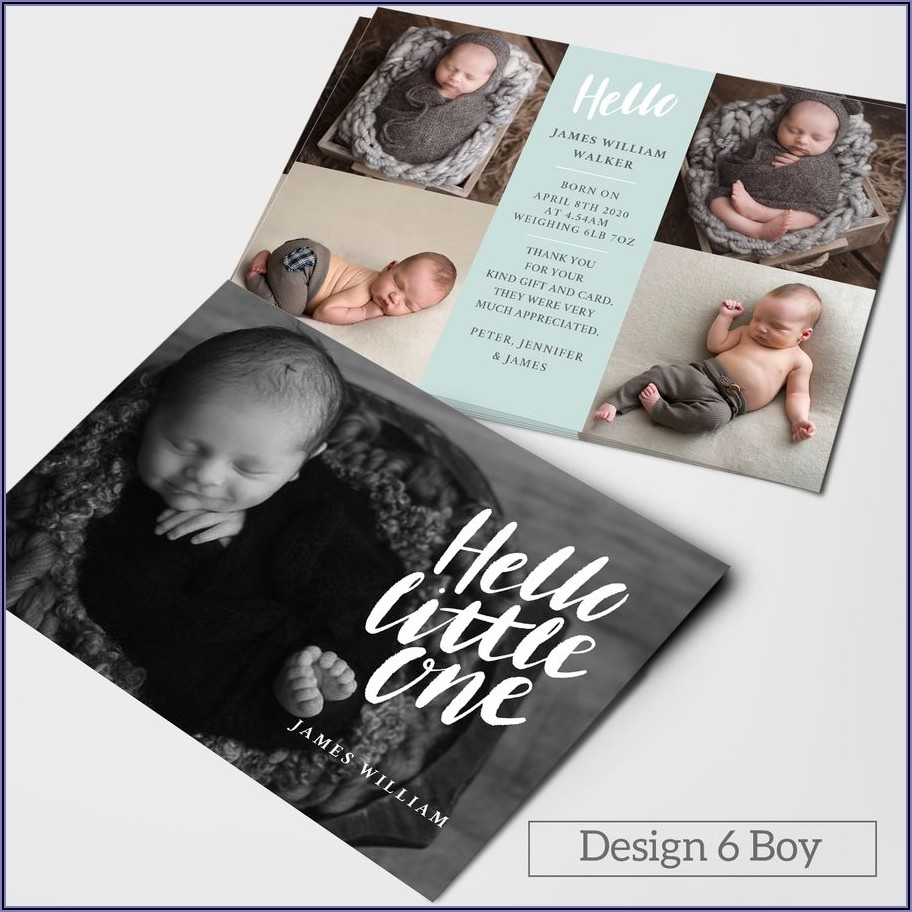 Double Sided Birth Announcement Cards
