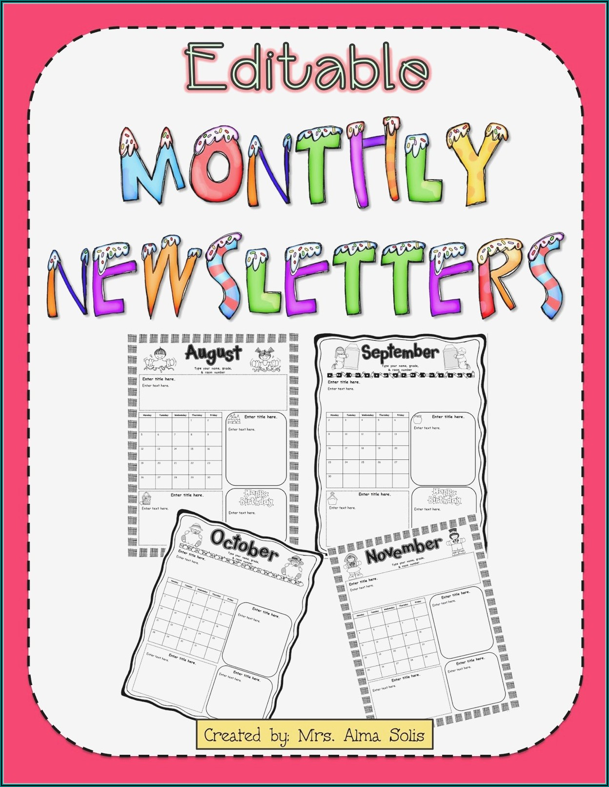 Downloadable Free Editable Preschool Newsletter Templates For Word