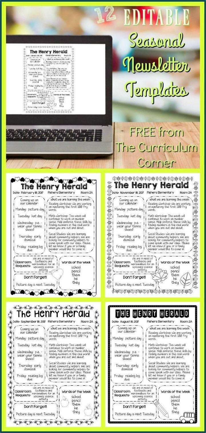 Editable Classroom Newsletter Template Free