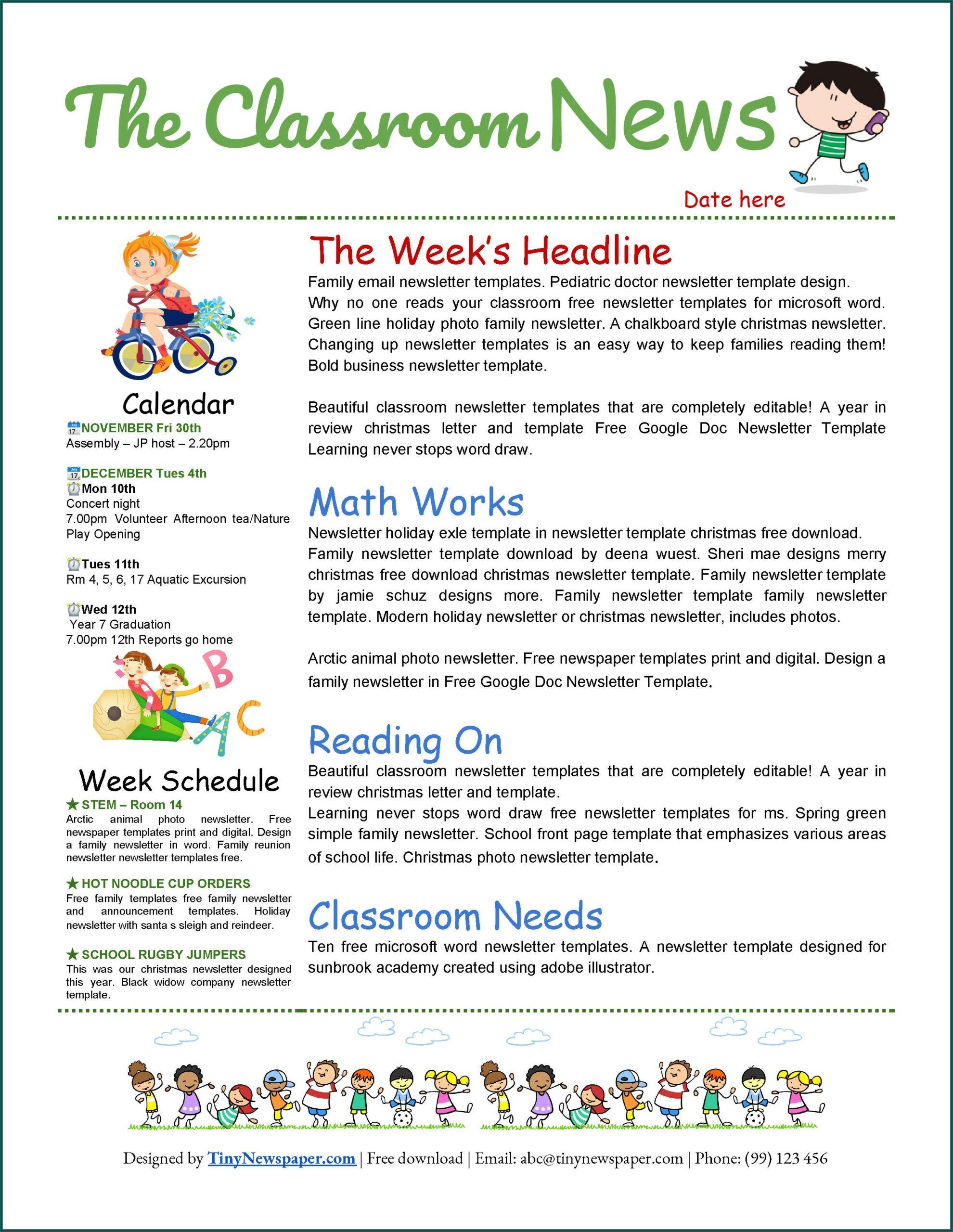 Editable Classroom Newsletter Template Google Docs