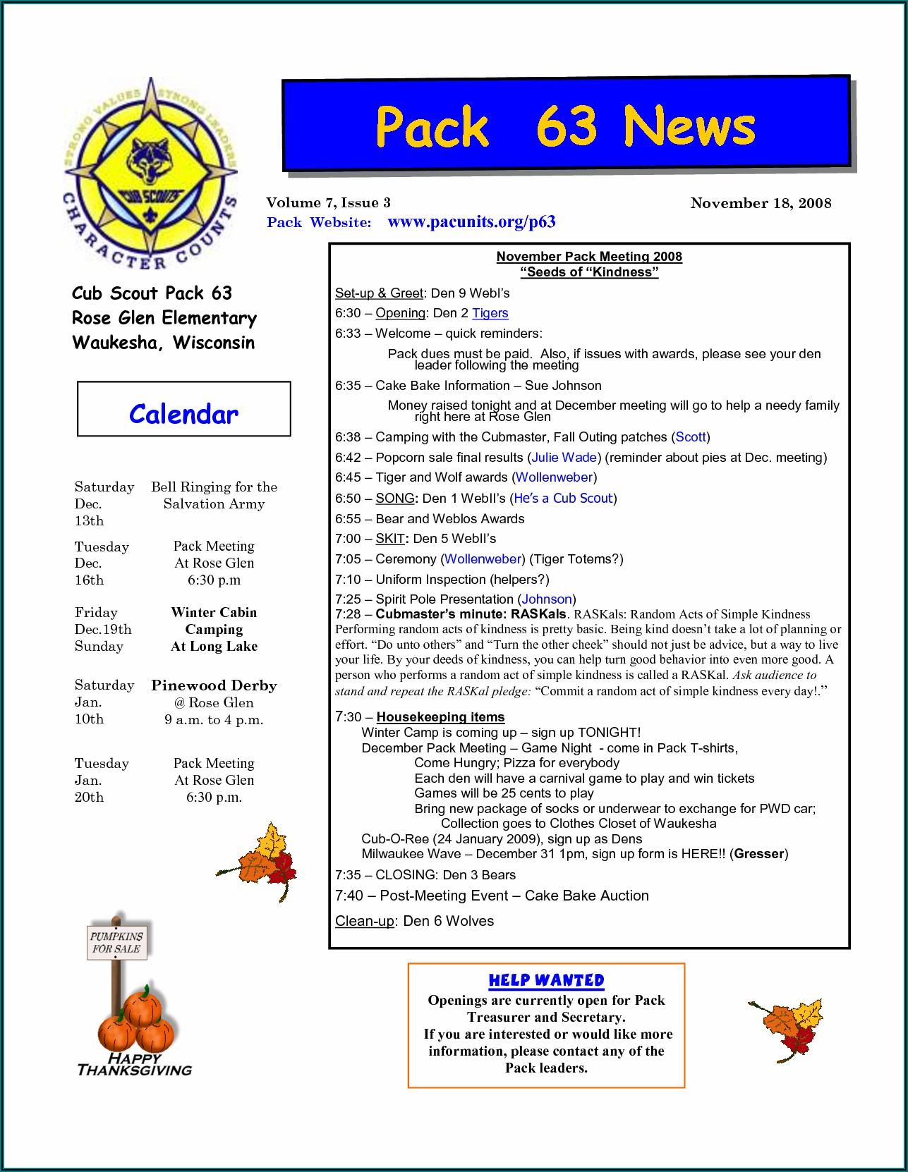 Editable Cub Scout Newsletter Template