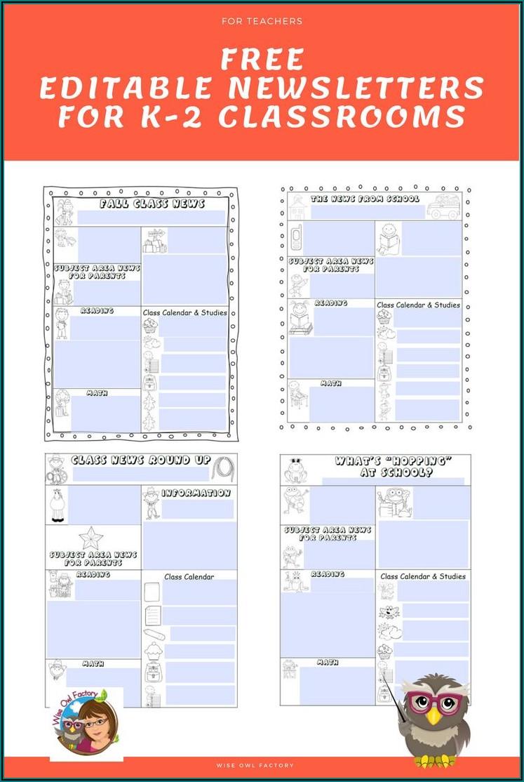 Editable School Newsletter Template