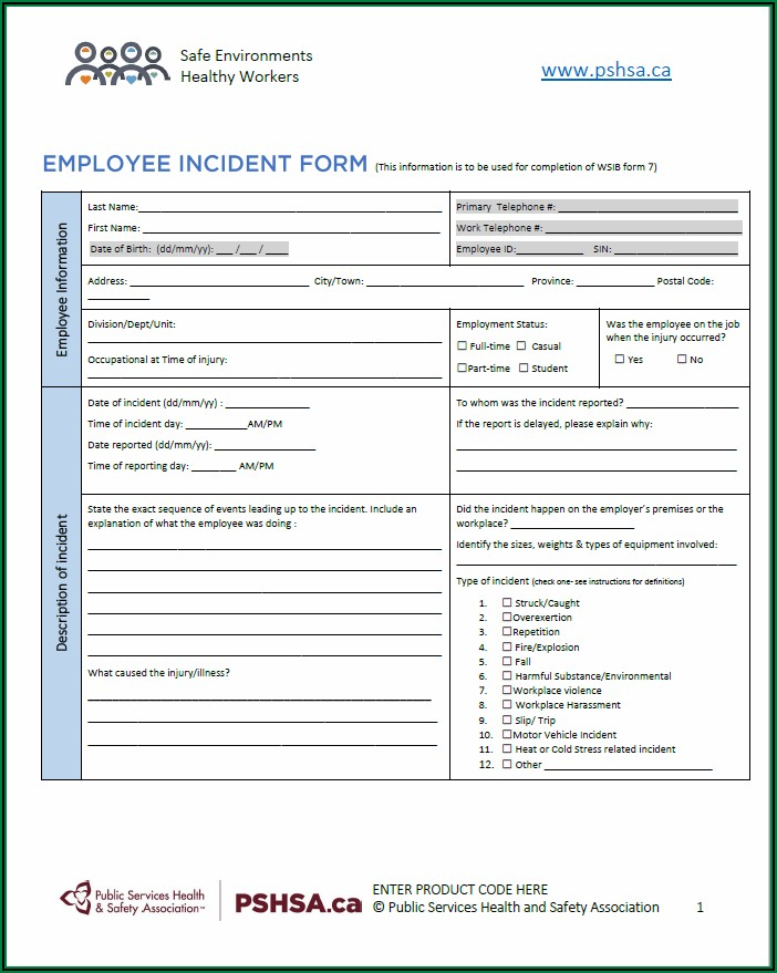Employee Incident Report Form Ontario