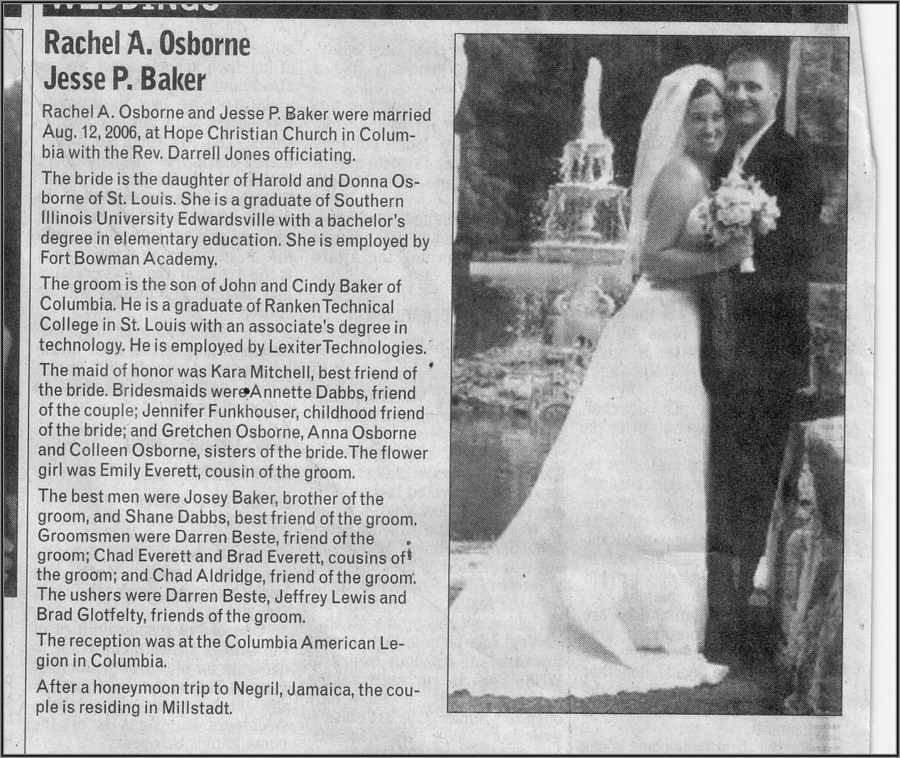 Example Wedding Announcement For Newspaper