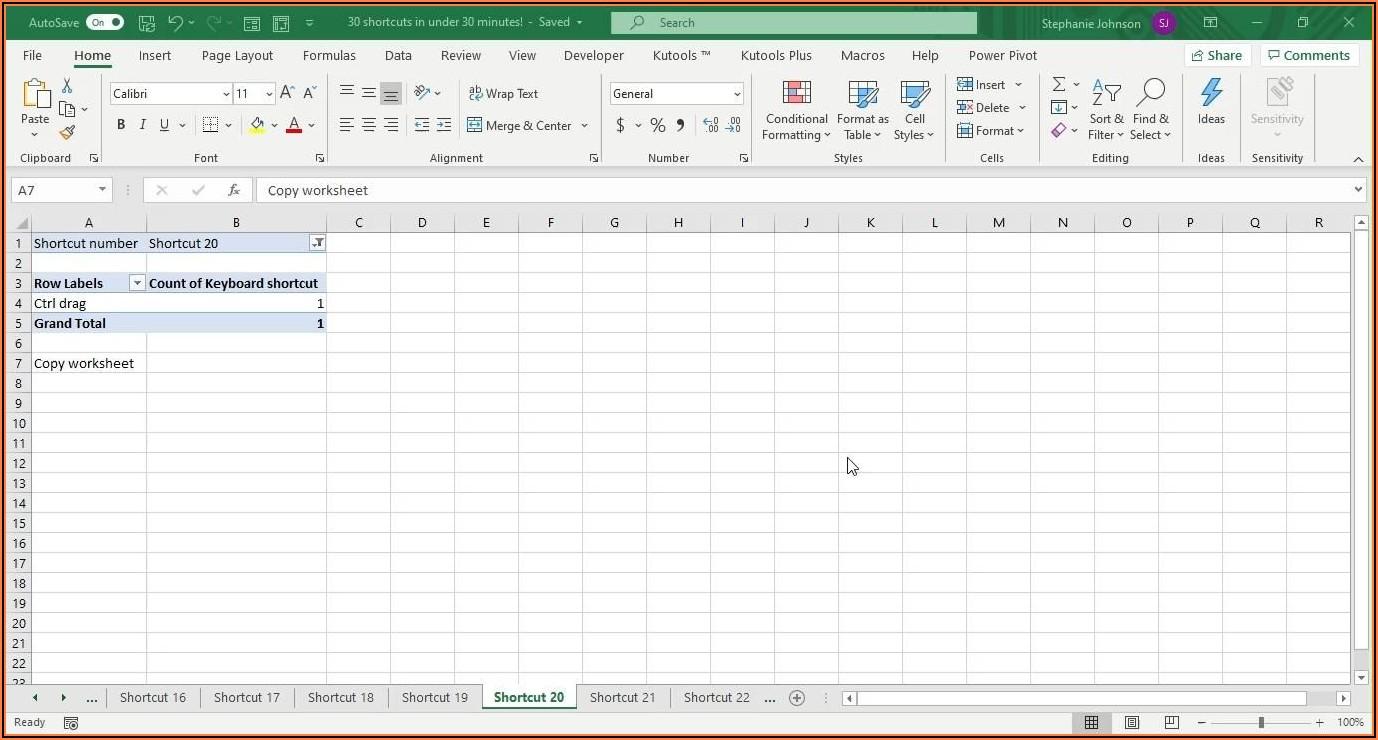 Excel Copy Worksheet Shortcut
