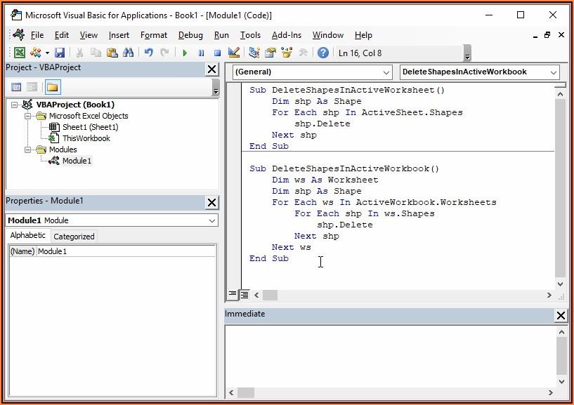 Excel Vba Delete All Shapes In Workbook