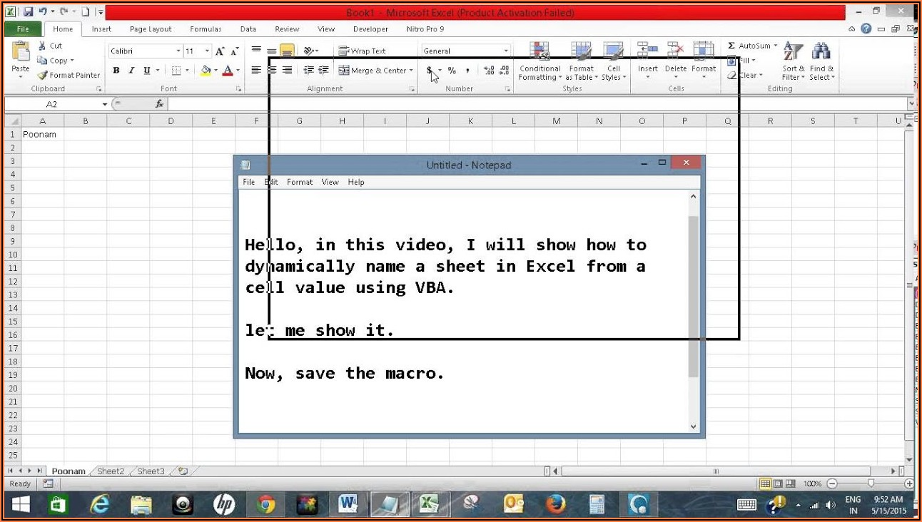Excel Vba Get Sheet Name From Cell