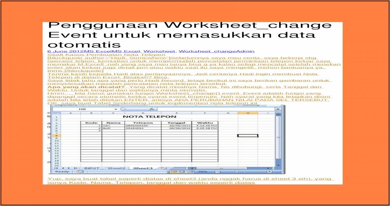 Excel Vba Worksheet Change Module