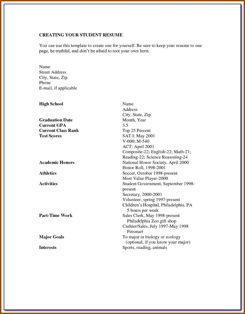 Fill In The Blank Resume For Highschool Students