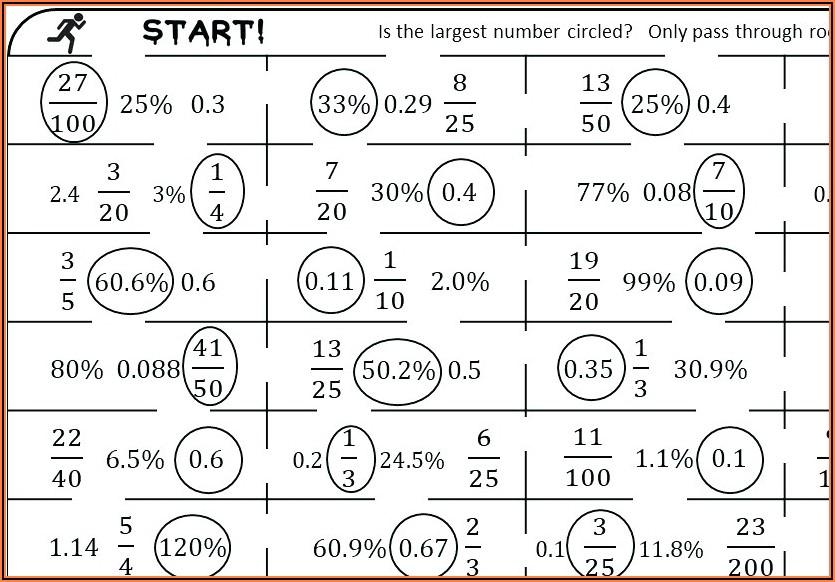 Fractions Decimals Percentages Worksheet Doc