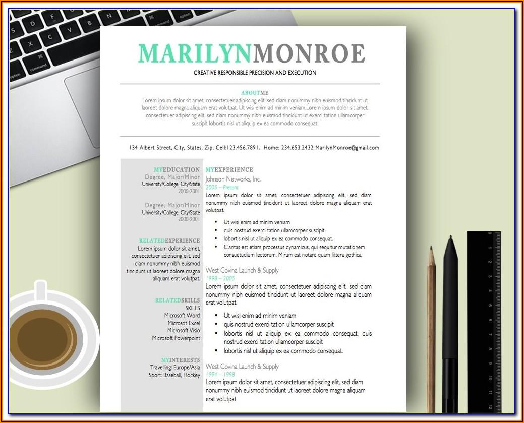 Free Creative Resume Templates Microsoft Word For Freshers