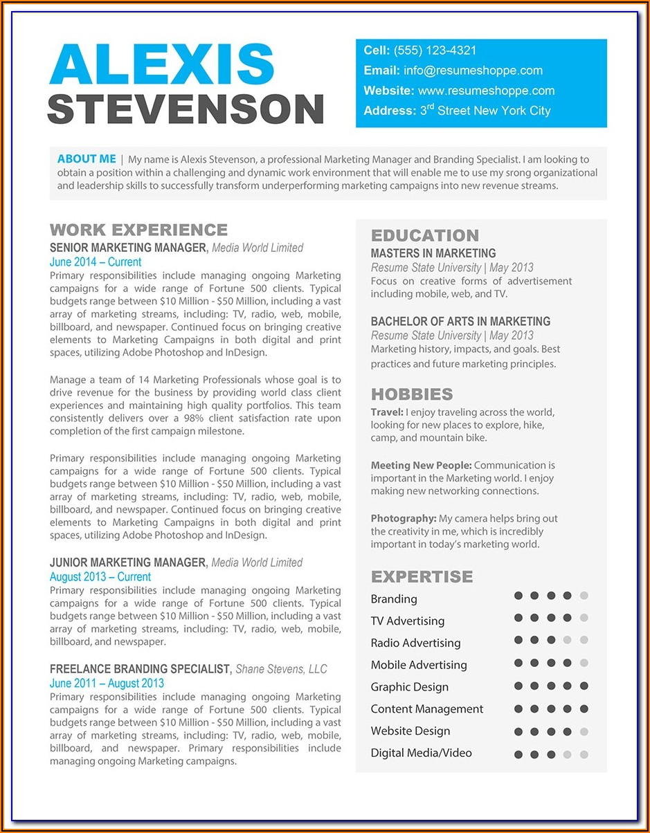 Free Creative Resume Templates Word Format Download