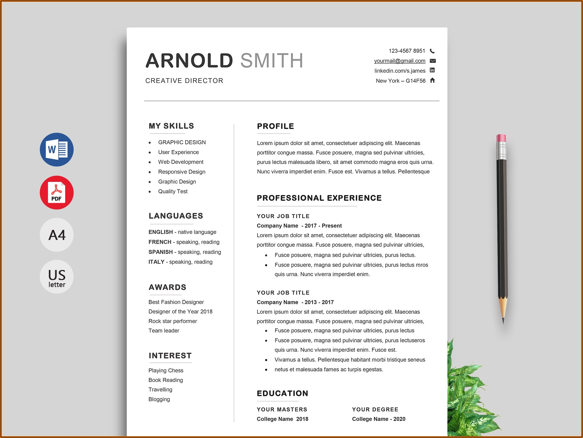 Free Cv Template Word Download With Photo