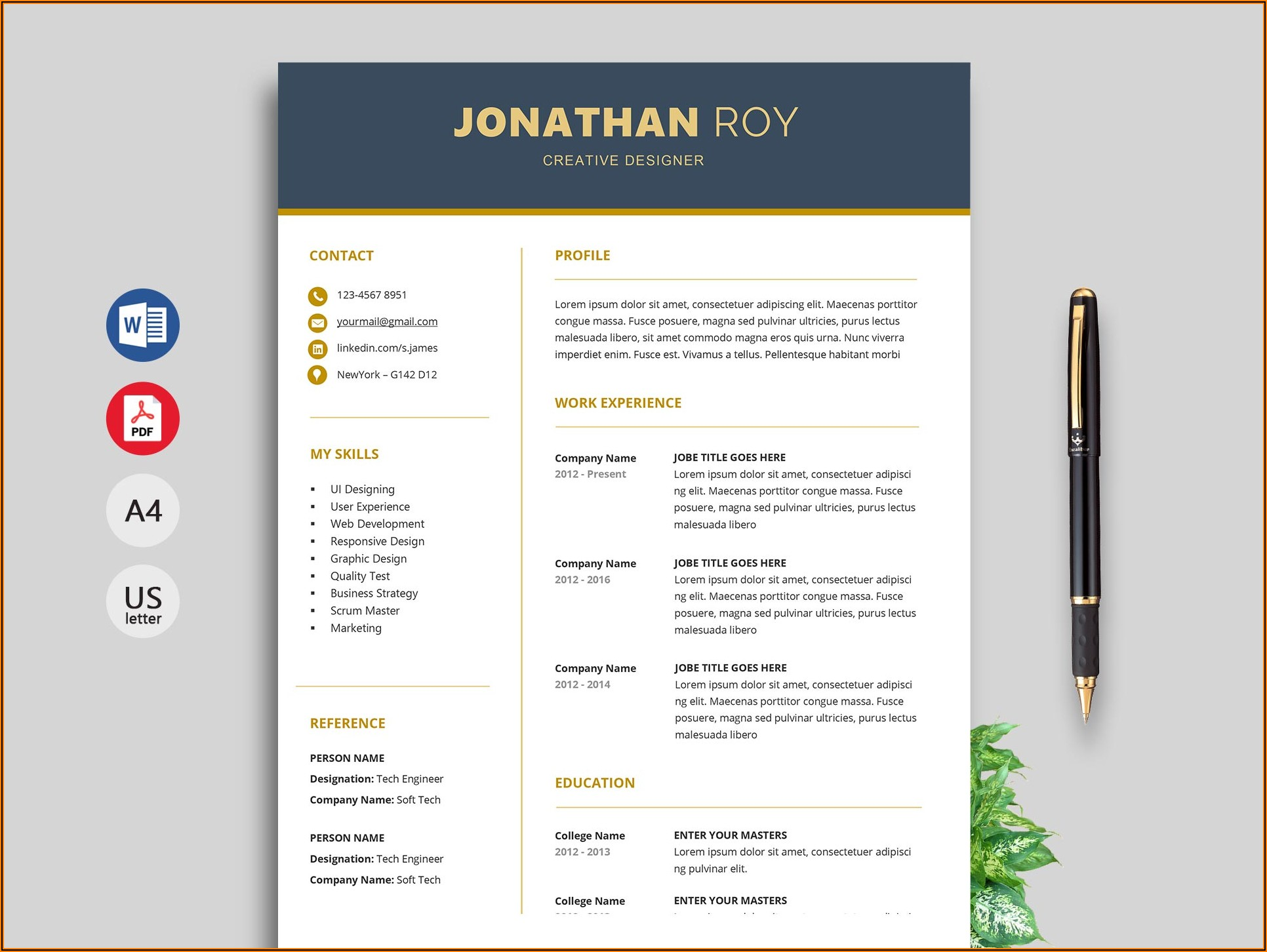 Free Download Cv Template Word 2016