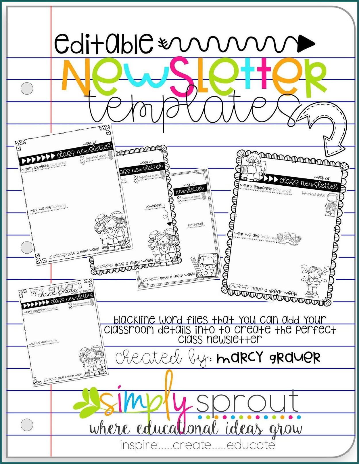 Free Editable Elementary School Newsletter Templates