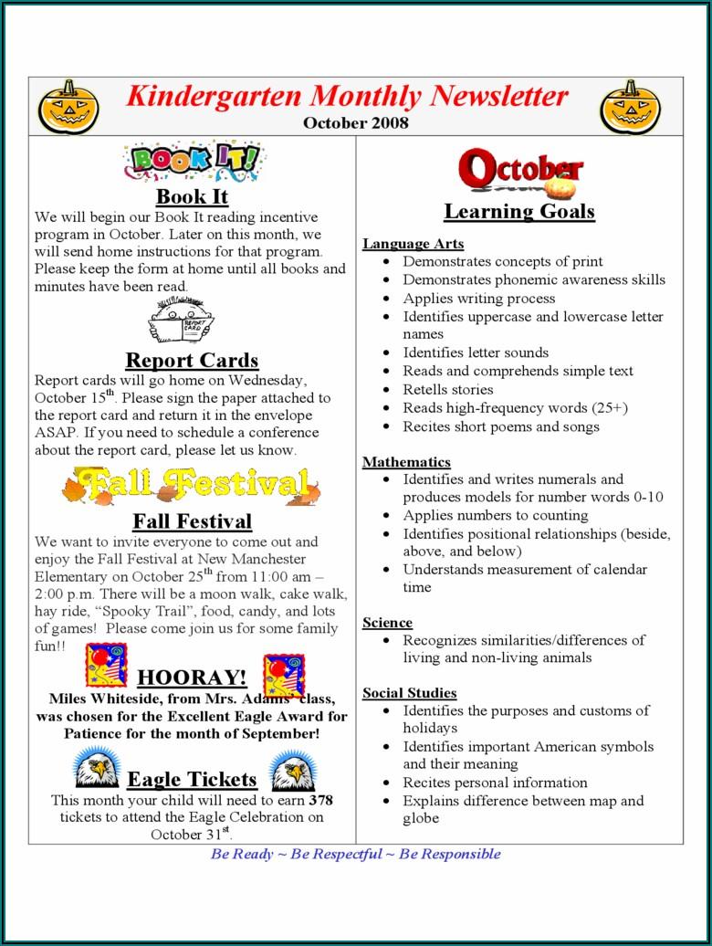 Free Kindergarten Newsletter Templates Word