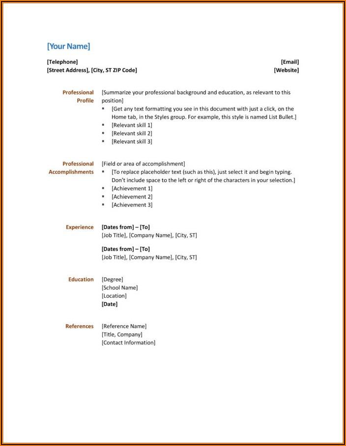 Free Microsoft Office Word Cv Templates