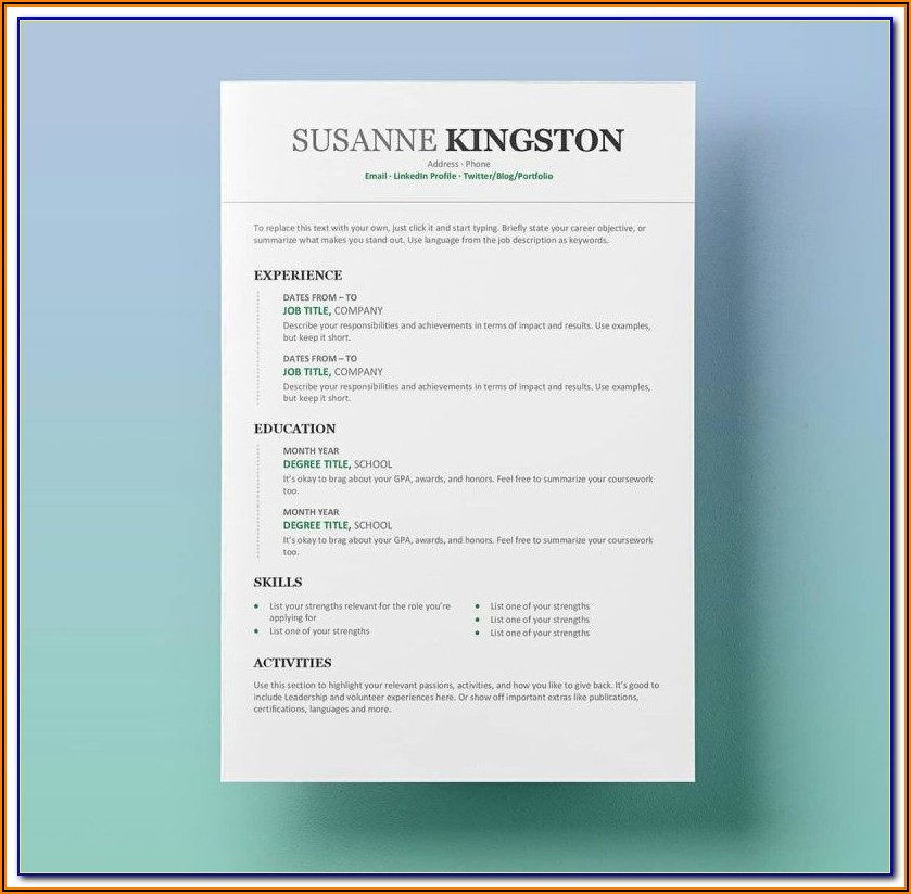 Free Modern Resume Templates For Word Free Download