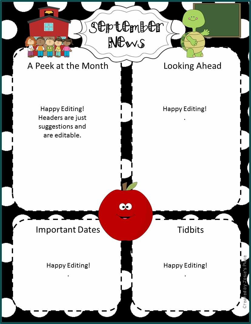 Free Monthly Preschool Newsletter Template