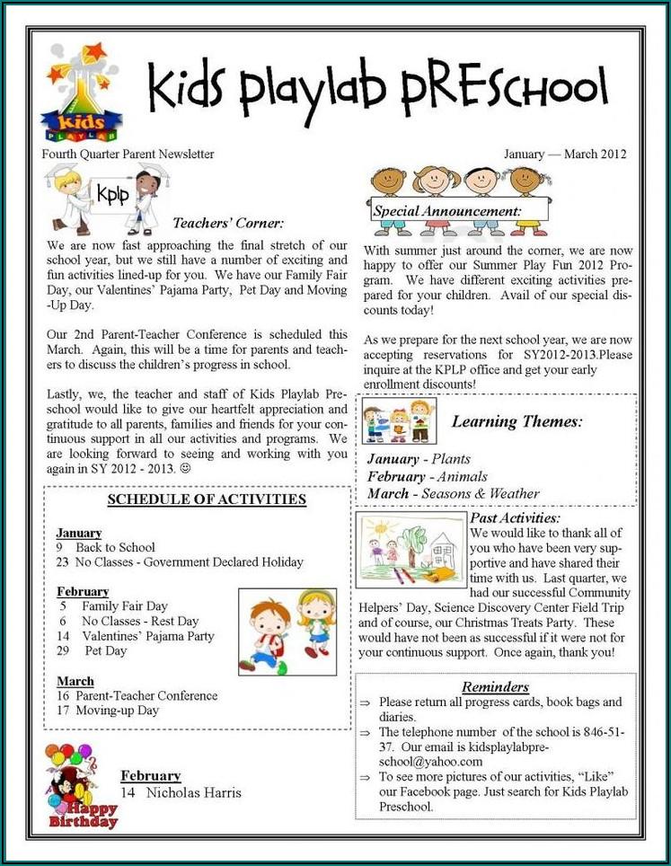 Free Online Preschool Newsletter Templates