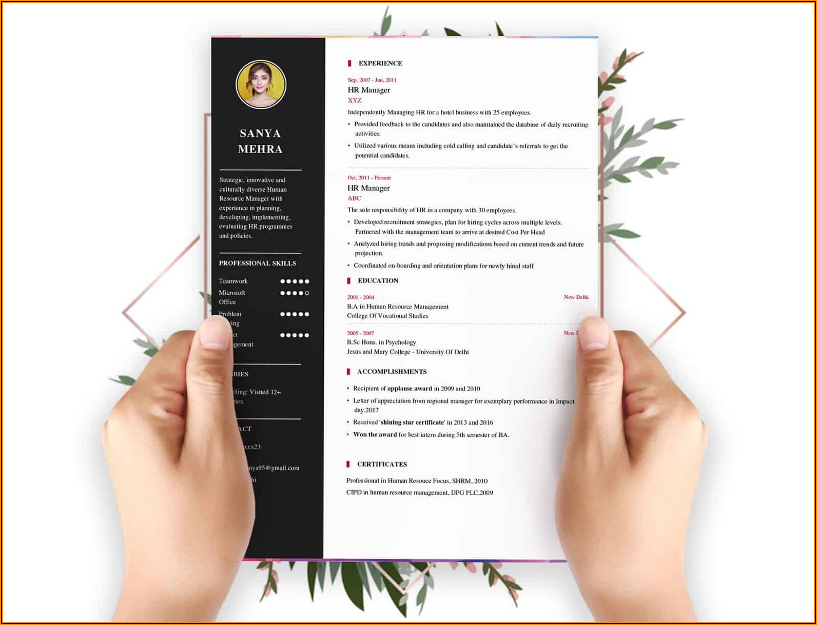 Free Online Resume Builder For Experienced India
