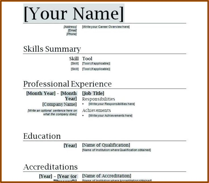 Free Resume Template Word Document Download