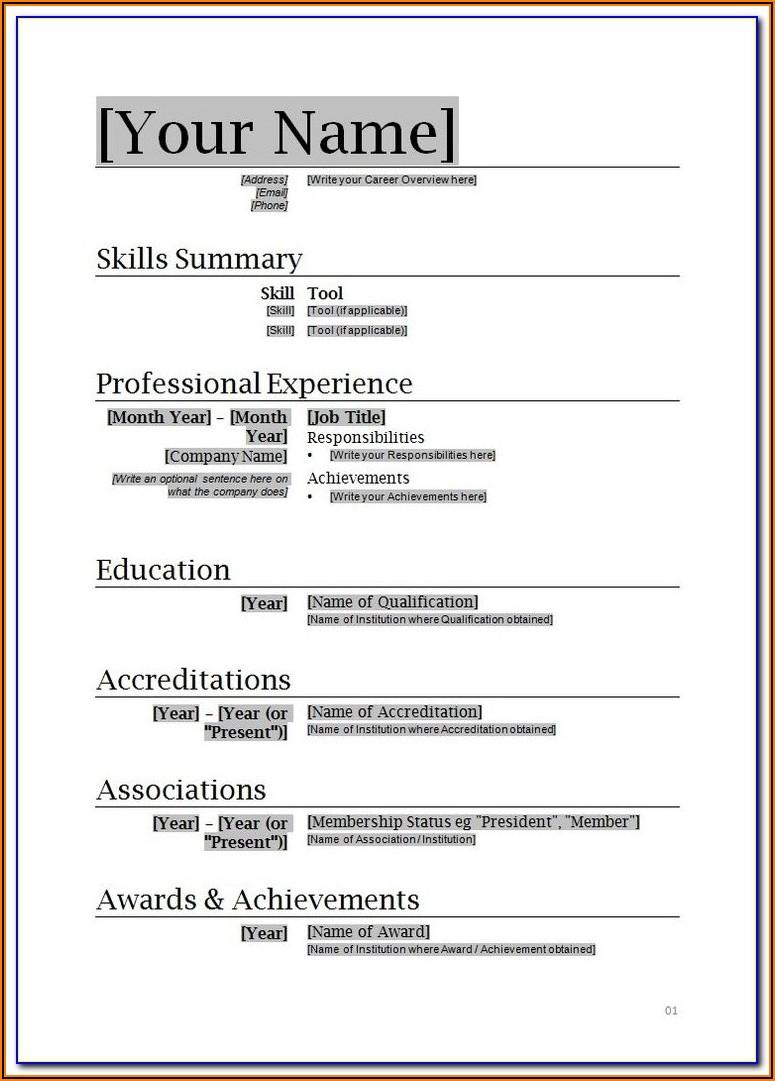 Free Resume Templates Microsoft Word 2010
