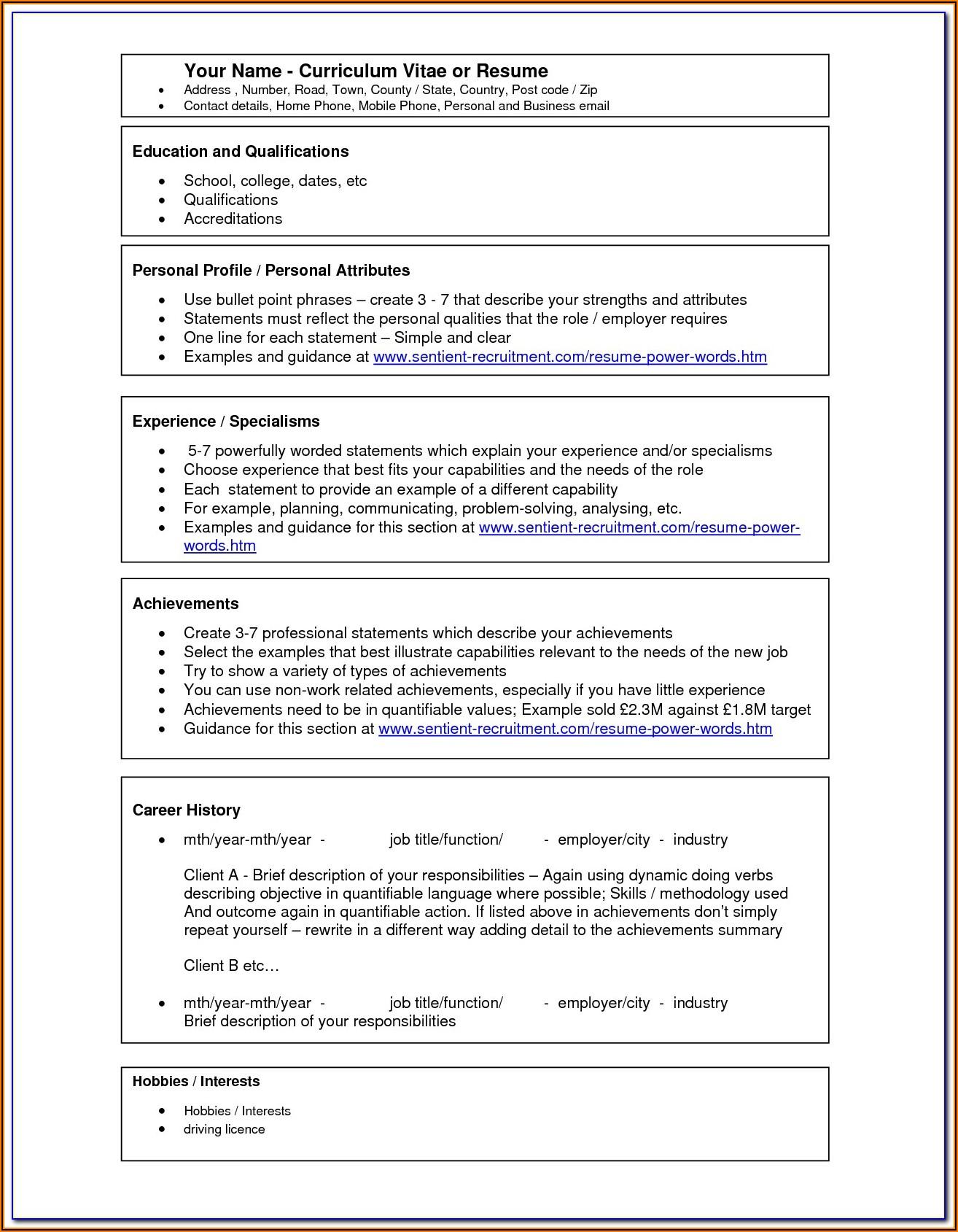 Free Resume Templates Word 2010