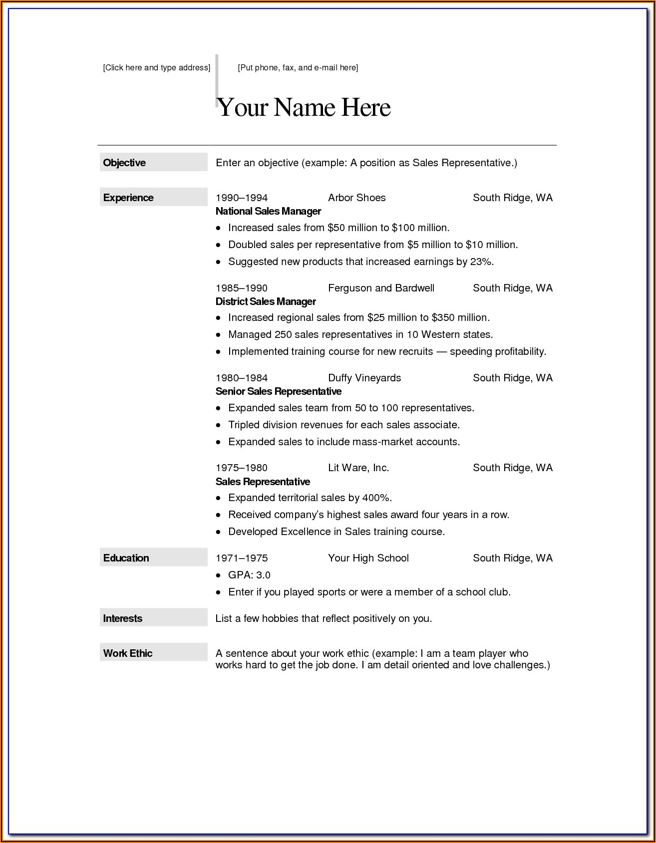 Free Resume Templates Word Document Download