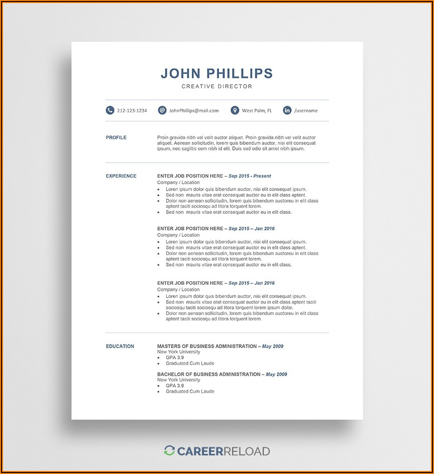 Free Resume Templates Word Document