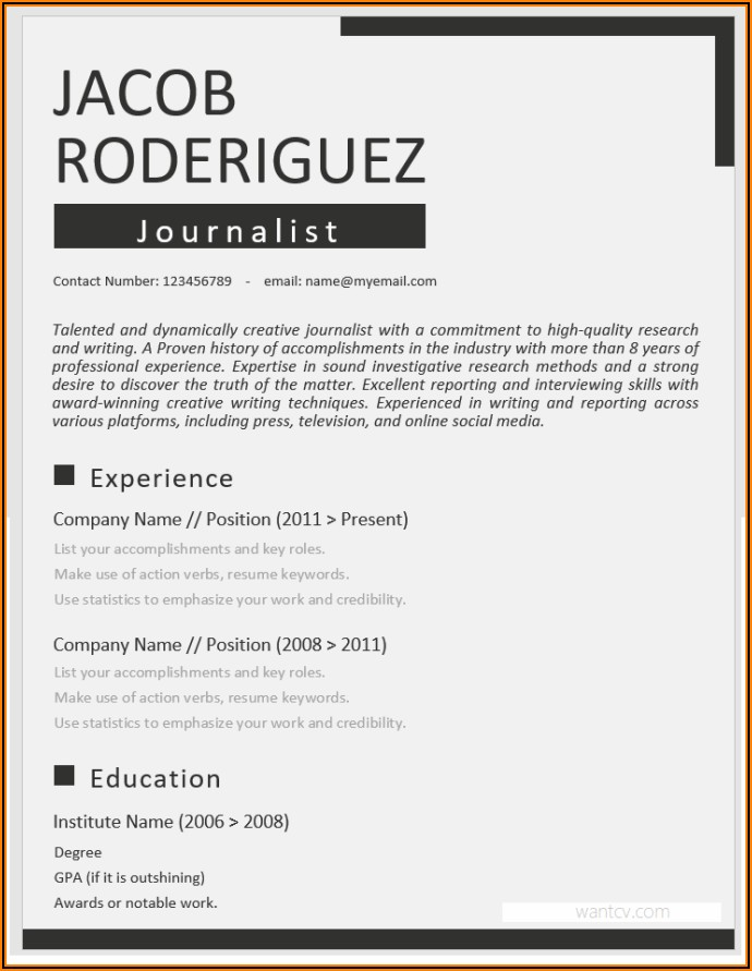 Free Resume Templates Word Download 2019