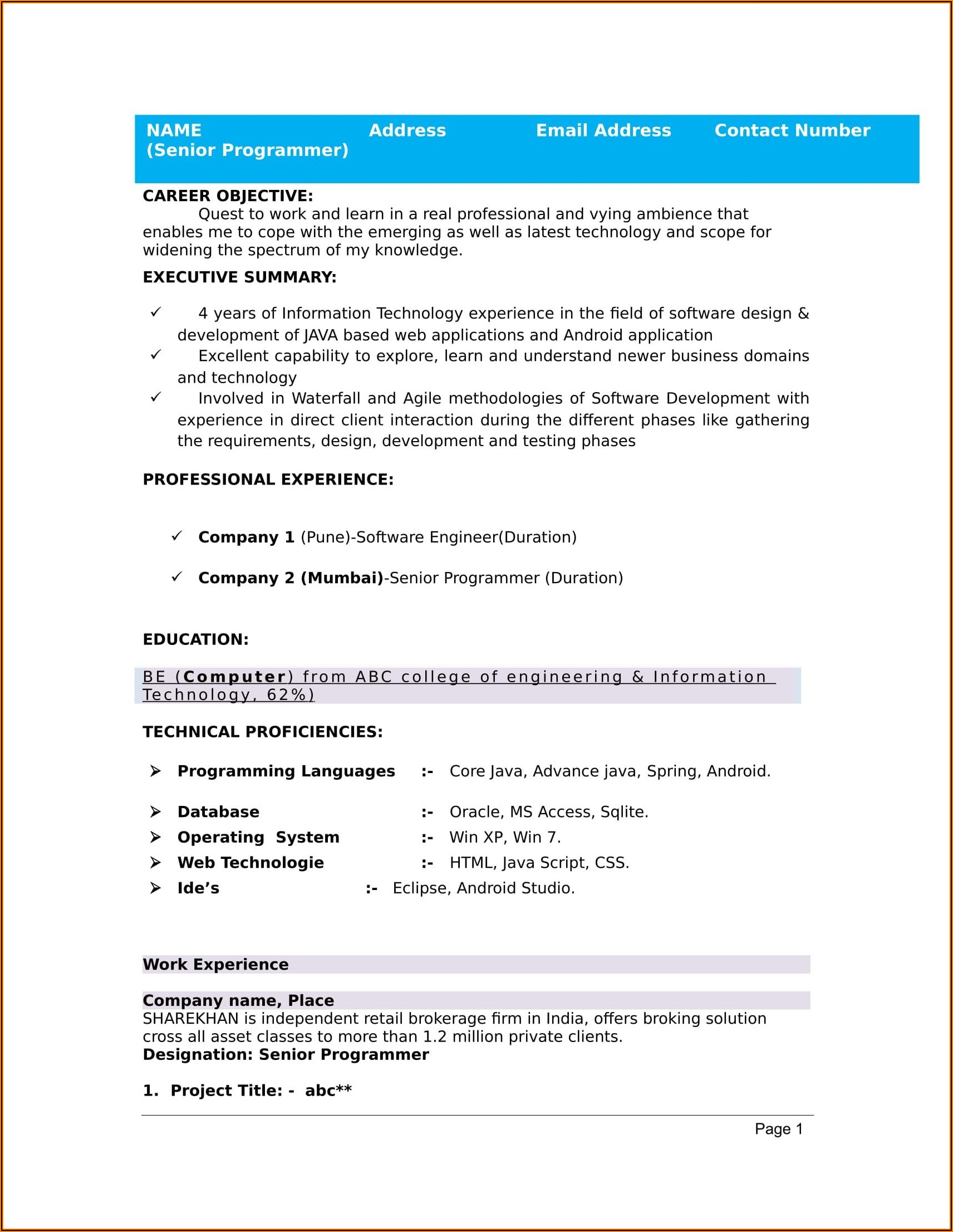 Free Resume Templates Word For Freshers