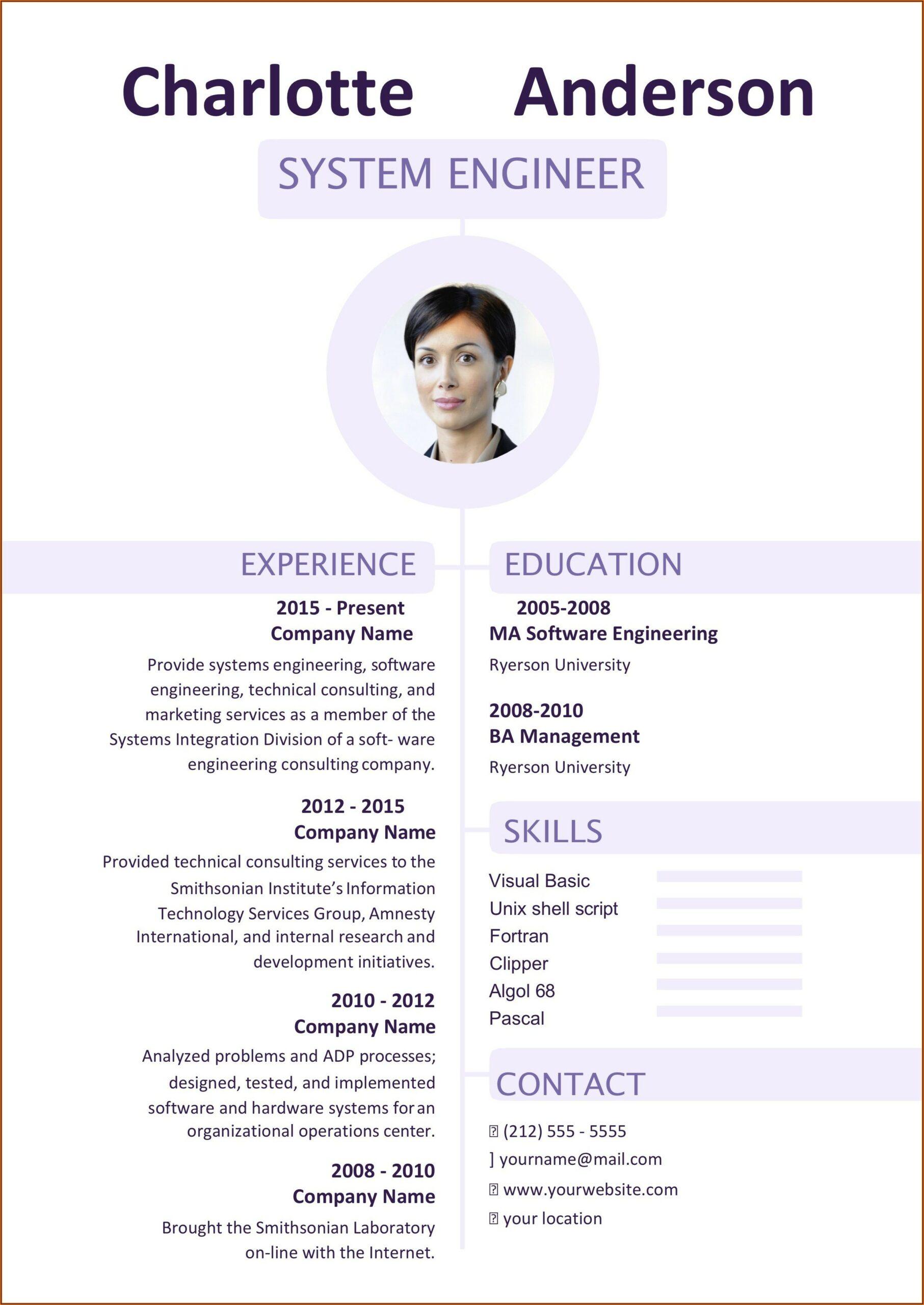 Free Resume Templates Words