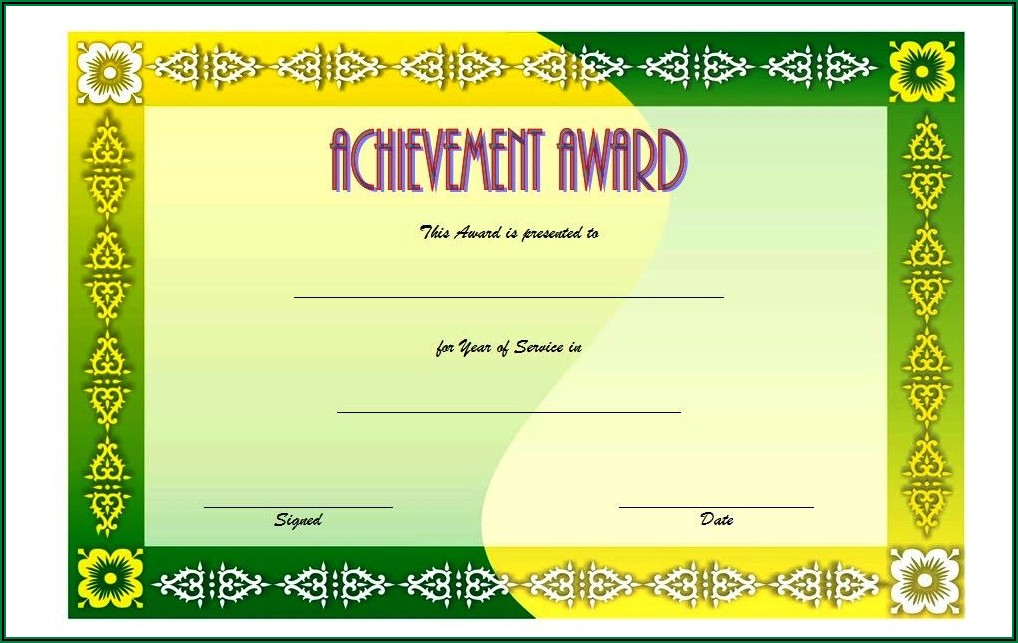 Free Years Of Service Award Certificate Templates