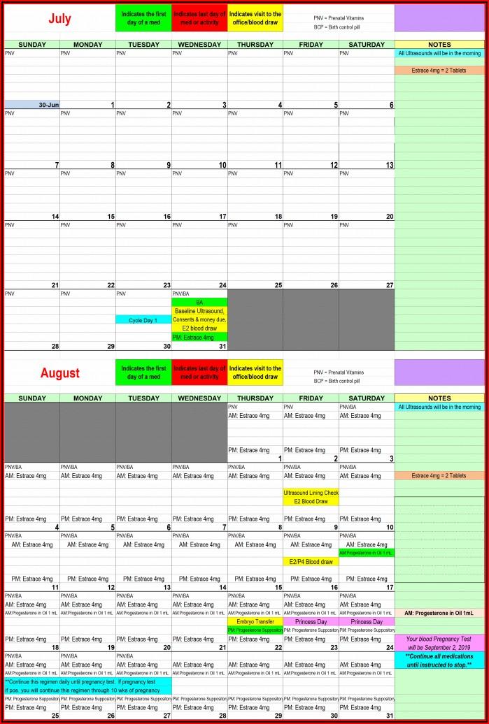 Frozen Embryo Transfer Natural Cycle Calendar