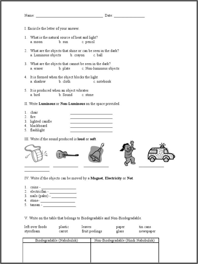 Grade 4 Science Worksheets Pdf
