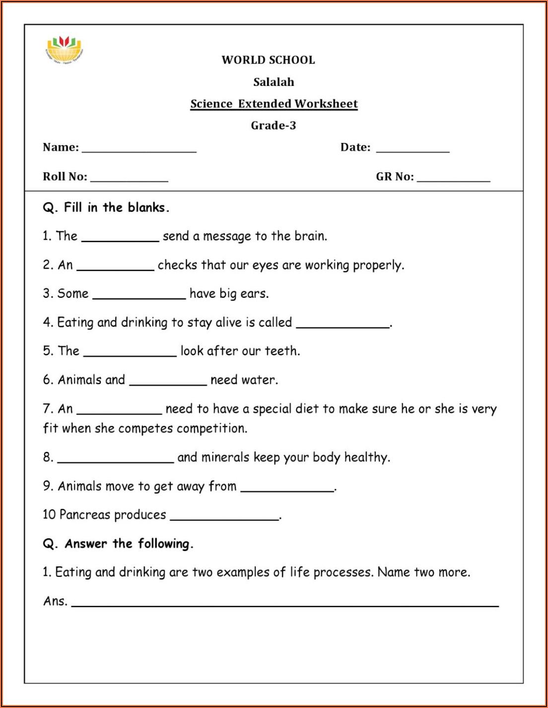 Grade 4 Science Worksheets