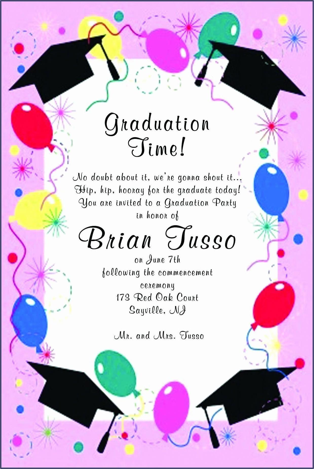 Graduation Ceremony Invitation Wording