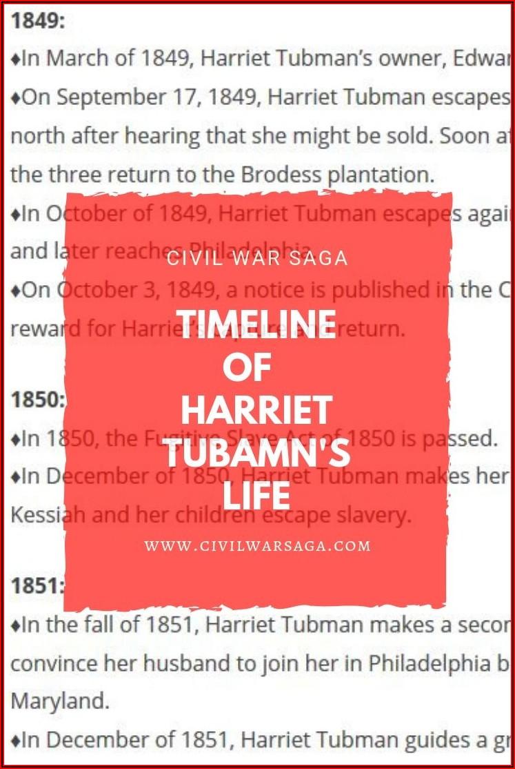 Harriet Tubman Timeline Of Life