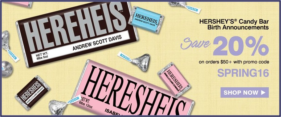 Hershey Candy Bar Birth Announcements