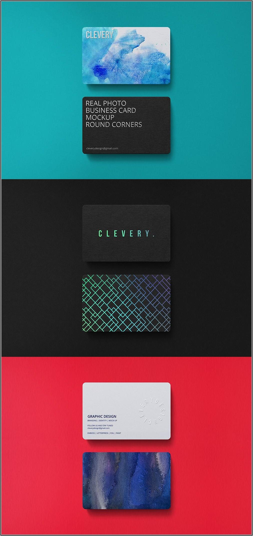 Holographic Foil Business Card Mockup