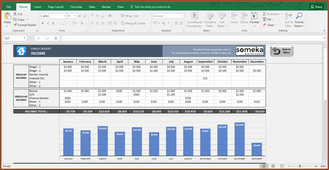 Home Budget Excel Sheet Free Download